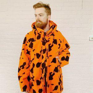 bright orange cow print hunters winter jacket